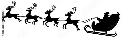 Obraz Vector illustration of a black and white silhouette of Santa and his reindeer in flight. - fototapety do salonu
