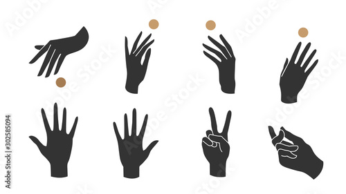 Hand linear style icon, Hands and fingers vector design in various poses for create logo and line arts design Template Canvas-taulu