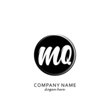Initial Letter MQ With Black Circle Brush Logo Template