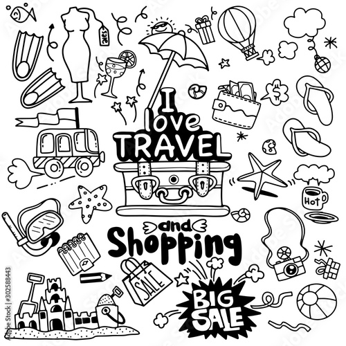 In de dag Boho Stijl I love travel and shopping , Vector illustration of travel doodles sketch icons