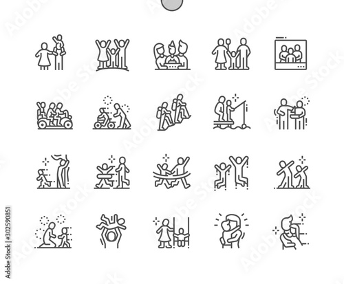 Family Values Well-crafted Pixel Perfect Vector Thin Line Icons 30 2x Grid for Web Graphics and Apps Slika na platnu