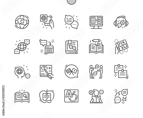 Cuadros en Lienzo  Studying of foreign language Well-crafted Pixel Perfect Vector Thin Line Icons 30 2x Grid for Web Graphics and Apps