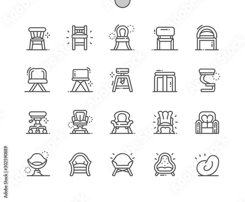 Carta da parati  Types of Chairs Well-crafted Pixel Perfect Vector Thin Line Icons 30 2x Grid for Web Graphics and Apps