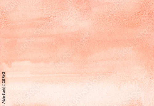 Obraz Watercolor pastel coral background texture. Light orange stains on paper.  - fototapety do salonu