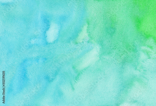 Obraz Watercolor light blue and green background texture. Watercolour abstract turquoise backdrop. - fototapety do salonu