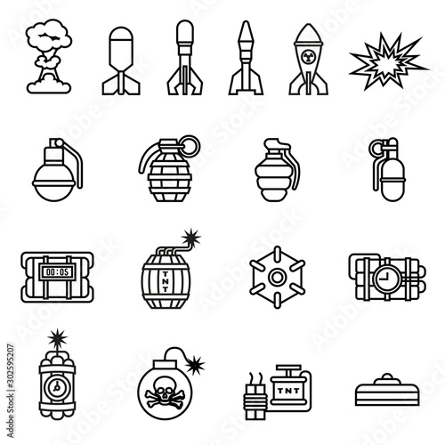Valokuvatapetti TNT, Bomb icons set on white background. Line Style stock vector.