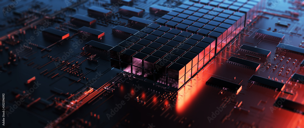 Fototapeta Printed circuit board futuristic server/Circuit board futuristic server code processing. Orange,  red, blue technology background with bokeh. 3d rendering