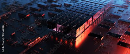 Cuadros en Lienzo Printed circuit board futuristic server/Circuit board futuristic server code processing