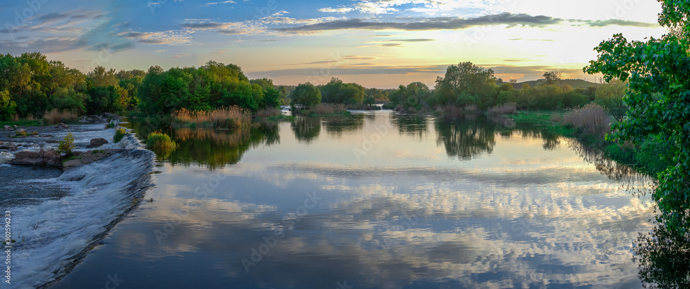 Fototapety, obrazy: Beautiful view of the dam on the river at sunset