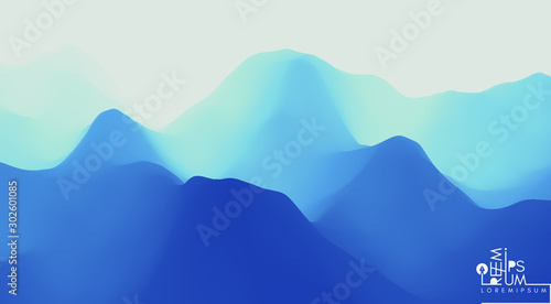 Foto auf AluDibond Dunkelblau Landscape with mountains and sun. Sunrise. Mountainous terrain. Abstract background. Vector illustration.