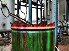 Old Barrel In Factory