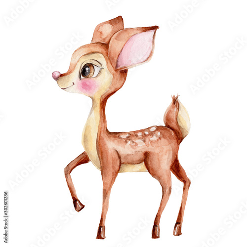 Cute little deer; watercolor hand draw illustration; with white isolated backgro Canvas Print