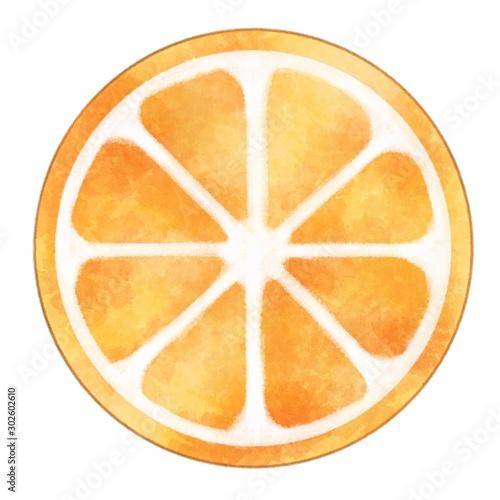 Obraz na plátně オレンジ 輪切り 水彩風イラスト素材