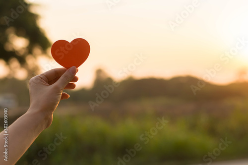 Obraz Silhouette broken heart,close up woman hand holding broken heart in the park. - fototapety do salonu