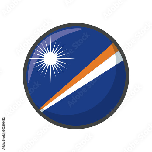 Isolated marshall islands flag icon block design Canvas Print