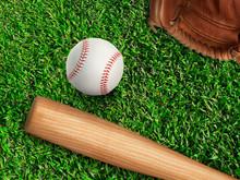 Baseball, Glove, Ball And Bat ...