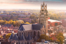 Panoramic Aerial View Of The Old City Of Bruges, Belgium