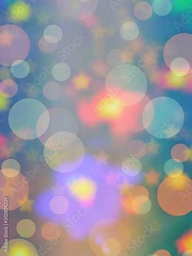 Vászonkép Bokeh of bubbles or snow, stars, colorful vivid lights for celebrations or Holidays vibes