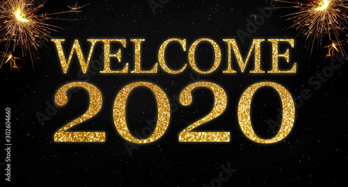 Obraz na plátně  Golden glitter with the words welcome 2020 on black chalkboard background