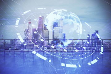 Map hologram with city view from roof background. Double exposure.