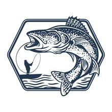 Walleye Fishing By Man In Lake...