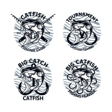 Set Of Catfish Fishing Logo Club Tournament Big Catch, Vintage Emblem Badge