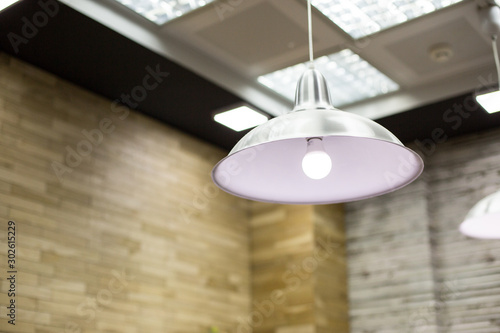 stylish lights on the ceiling of the Barber shop. shallow depth of field, selective focus