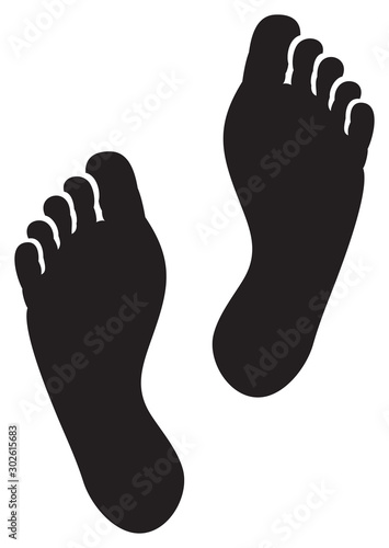 two black man footprints vector illustration Canvas Print