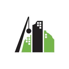 Building Demolition Logo Design Vector With Wrecking Ball Icon Illustration