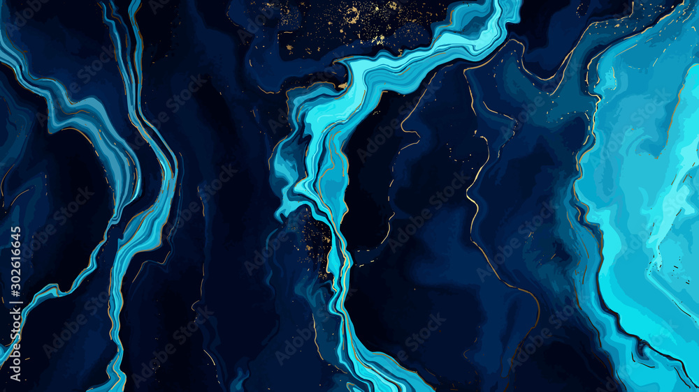 Fototapeta Blue marble and gold abstract background texture.  Indigo ocean blue marbling  with natural luxury style swirls of marble and gold powder.