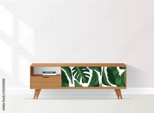 Wooden sideboard with tropical pattern in living room Canvas-taulu