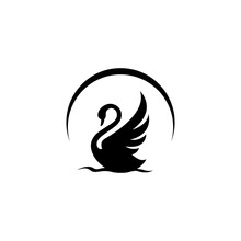 New Luxury Stylish Spreading Wings Swan Logo Design Vector Logotype Sign Illustration