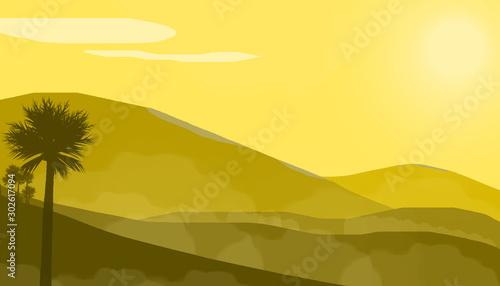 Foto auf Leinwand Gelb Schwefelsäure The sun shines in the desert