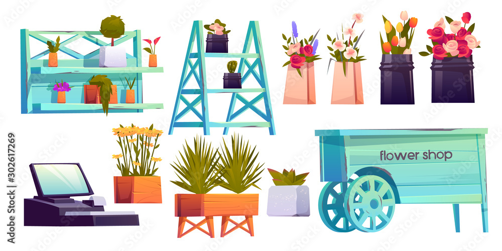 Fototapety, obrazy: Flower shop set, potted plants on shelves, cashier and decoration isolated on white background, floristic store interior items with blossom compositions for sale. Cartoon vector illustration, clip art