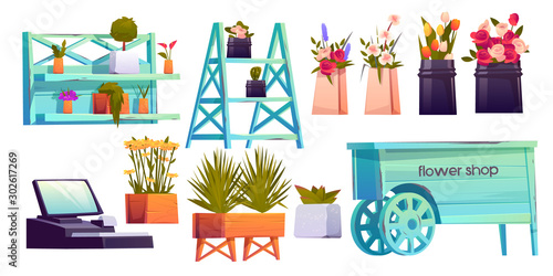 Flower shop set, potted plants on shelves, cashier and decoration isolated on white background, floristic store interior items with blossom compositions for sale. Cartoon vector illustration, clip art