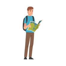 Male Tourist With Backpack Holding Road Map Planning The Route, Summer Travel, Camping, Backpacking Trip Or Expedition Vector Illustration