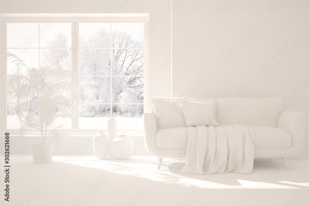 Fototapety, obrazy: Mock up of stylish room in white color with sofa and winter landscape in window. Scandinavian interior design. 3D illustration