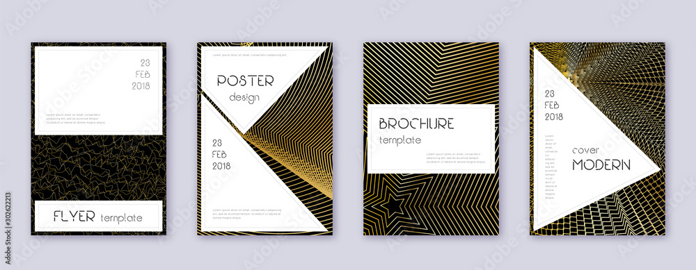 Fototapeta Stylish brochure design template set. Gold abstrac
