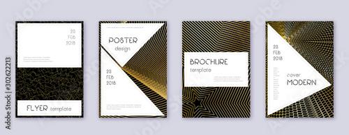 Obraz Stylish brochure design template set. Gold abstrac - fototapety do salonu