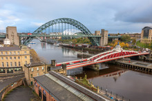 The Tyne And Swing Bridges Over The River Tyne, Newcastle, UK
