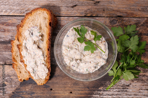 bread slice with rillettes, fish spread Canvas Print