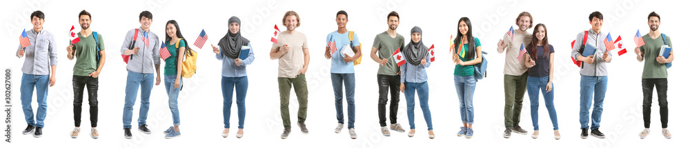 Fototapeta Set with immigrants to different countries on white background