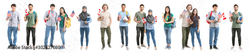 Obraz Set with immigrants to different countries on white background - fototapety do salonu