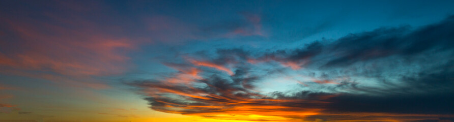 Beautiful sunset - sunrise with clouds. Sky with clouds. Colorful natural background
