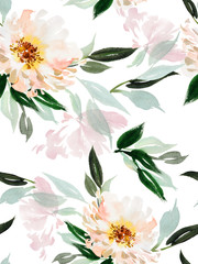FototapetaSeamless watercolor pattern with peonies on a white background.