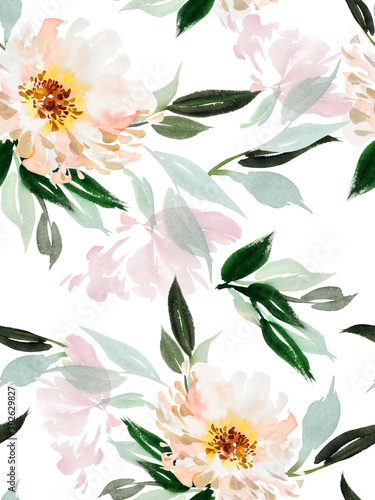 Fototapeten Künstlich Seamless watercolor pattern with peonies on a white background.