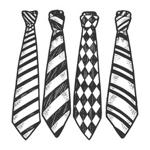Tie Set Sketch Engraving Vector Illustration. T-shirt Apparel Print Design. Scratch Board Style Imitation. Black And White Hand Drawn Image.