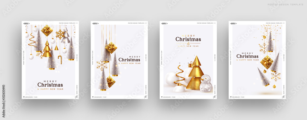 Fototapety, obrazy: Christmas set of backgrounds, greeting cards, web posters, holiday covers. Design with realistic New Year's eve, Christmas trees and gifts box. Xmas templates party banner. Festive composition