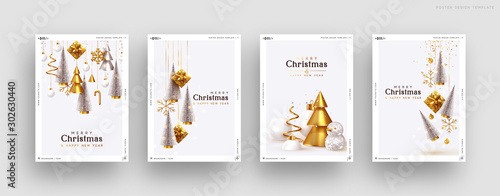 Fototapeta Christmas set of backgrounds, greeting cards, web posters, holiday covers. Design with realistic New Year's eve, Christmas trees and gifts box. Xmas templates party banner. Festive composition obraz