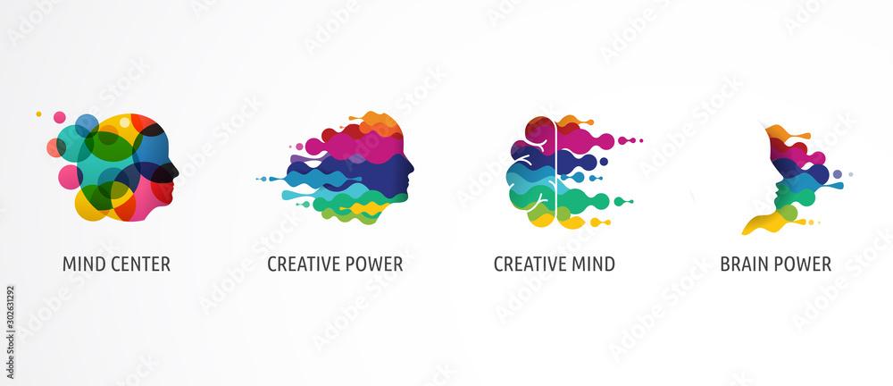 Fototapeta Brain, Creative mind, learning and design icons, logos. Man head, people symbols